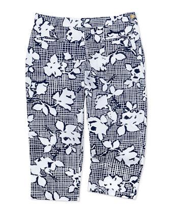 Etched-Rose Capri Pants, Navy, Girls' 2Y-10Y