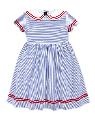 Seersucker Sailor Dress, Navy