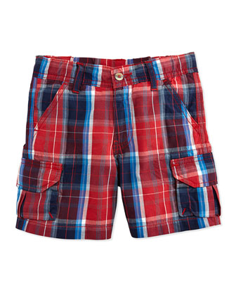 Trouillet Madras Cargo Shorts, Navy, Boys' 2Y-10Y