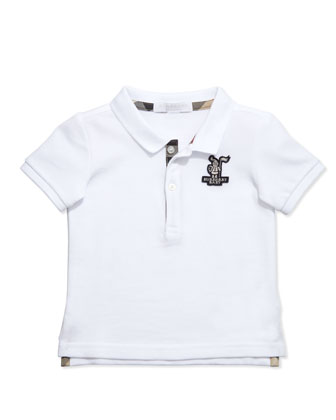 Palmer Boys' Check-Trim Polo, White, 2Y-3Y