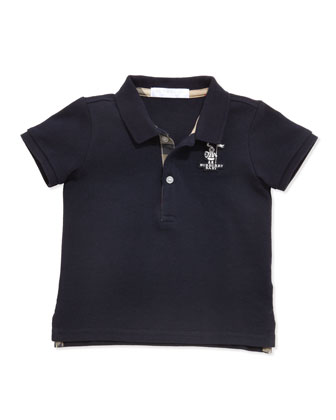 Palmer Boys' Check-Trim Polo, Navy, 2Y-3Y