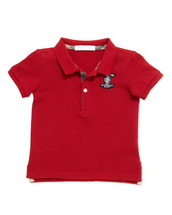 Boys' Check-Trim Polo, Red, 2Y-3Y