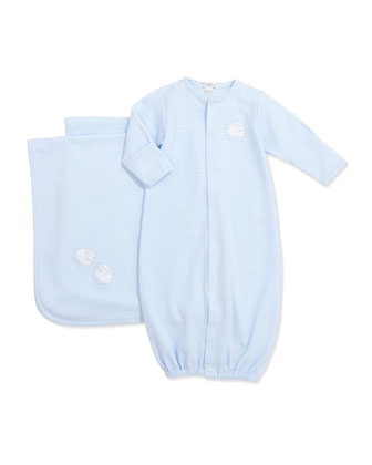 Boys' Gingham Sheep Convertible Gown & Baby Blanket