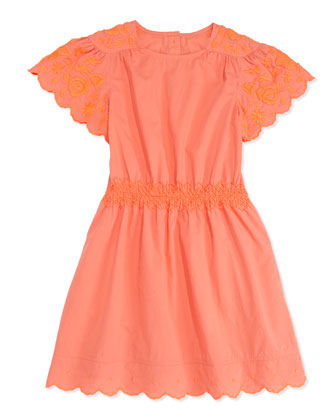 Anabelle Embroidered Dress, Coral, Girls' 2-10