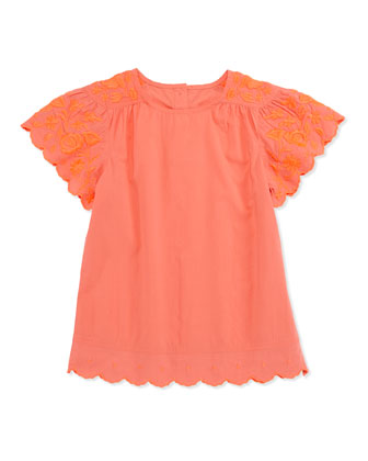 Amy Embroidered Top, Coral, Girls' 2-10