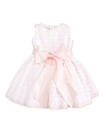 Taffeta Eyelet Cupcake Dress, White/Pink, 2T-3T