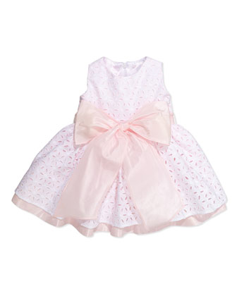 Taffeta Eyelet Cupcake Dress, White/Pink, 12-24 Months