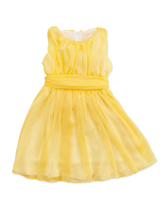 Shirred Georgette Dress, Yellow, Sizes 4-6X