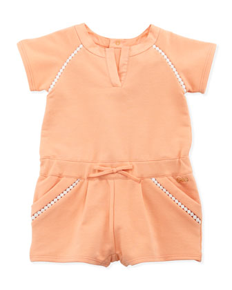 Fleece-Jersey Romper, Pink Plush, 3-18 Months