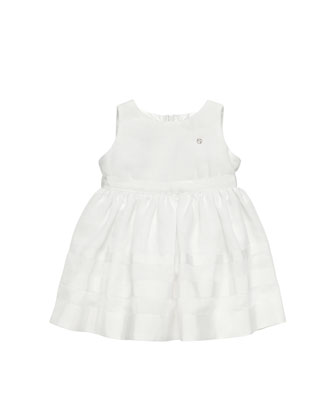 Linen-Blend Sleeveless Dress, White, 0-24 Months
