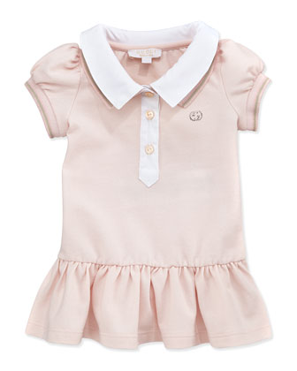 Double-Collar Polo Dress, Light Pink, 0M-24M