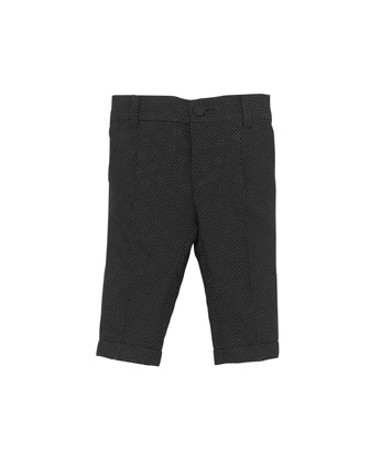 Pindot and GG Jacquard Pants, Black, 0-24 Months
