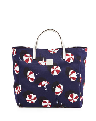 Girls' Parasol-Print Tote Bag, Blue