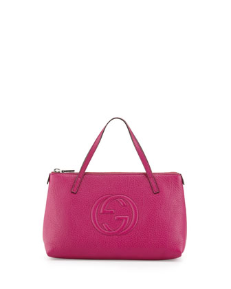 Girls' Interlocking G Tote Bag, Fuchsia