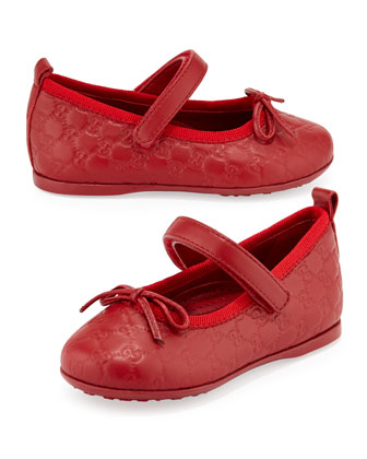 Ali GG Leather Ballerina Mary Janes, Red