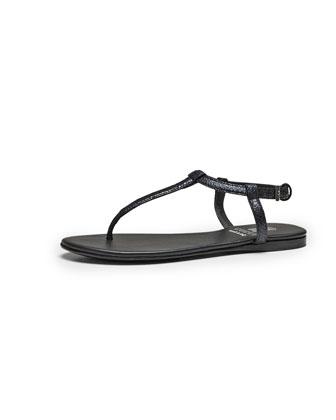 Crackled Metallic Leather Thong Sandal, Black