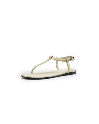 Crackled Metallic Leather Thong Sandal, Pearl