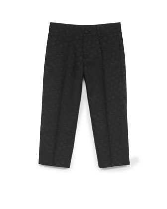 Pindot and GG Jacquard Pants, Black, Sizes 4-10