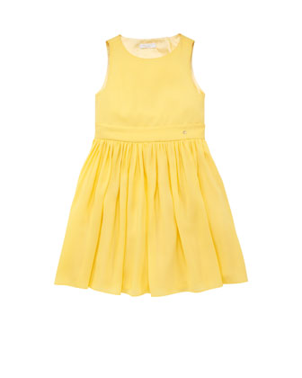 Sleeveless Crossover-Back Dress, Yellow