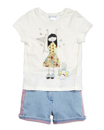Butterfly Printed Short-Sleeve Jersey Tee, Sizes 6-10