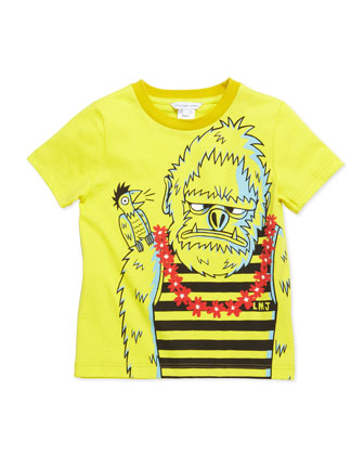 Gorilla-Print Short-Sleeve Tee, Yellow, Sizes 2-5