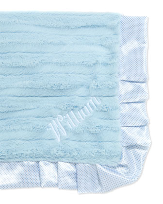 Monogrammed Swiss-Dot Receiving Blanket, Blue