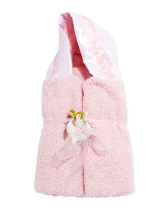 Monogrammed Swiss-Dot Hooded Towel, Pink