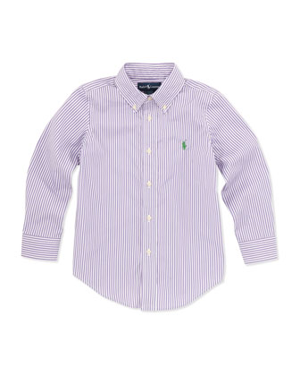 Custom Fit Bengal-Stripe Dress Shirt, Purple, 2T-3T