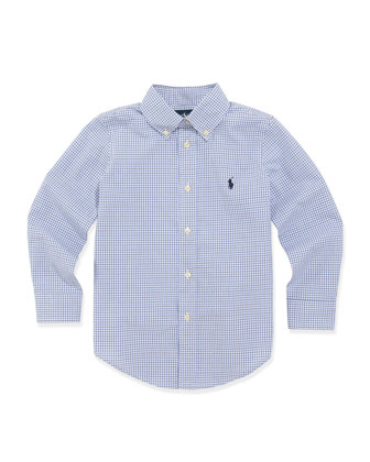 Custom-Fit Poplin Dress Shirt, Blue, Sizes 4-7