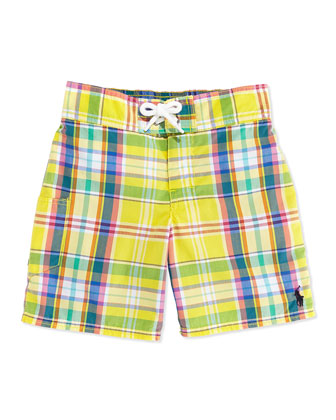 Tulum Plaid Swim Trunks, Yellow, Boys' 4-7