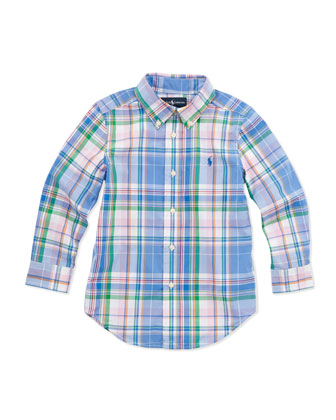 Plaid Long-Sleeve Blake Shirt, Blue Multi, 2T-3T