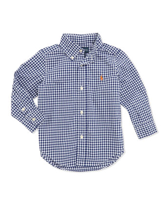 Blake Long-Sleeve Gingham Shirt, Blue, Boys' 4-7