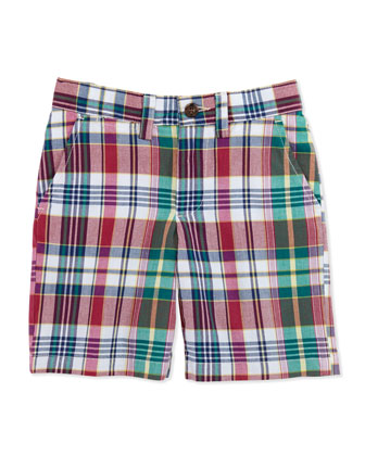 Prospect Madras Shorts, Red, Boys' 4-7