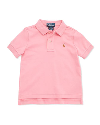 Short-Sleeve Cotton Polo, Pink, Boys' 4-7