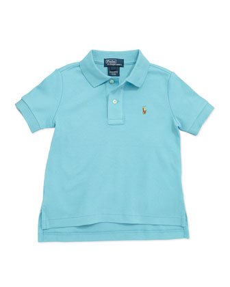 Short-Sleeve Cotton Polo, Aqua, Boys' 4-7