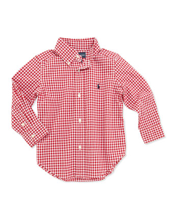 Blake Long-Sleeve Gingham Shirt, Red, 2T-3T