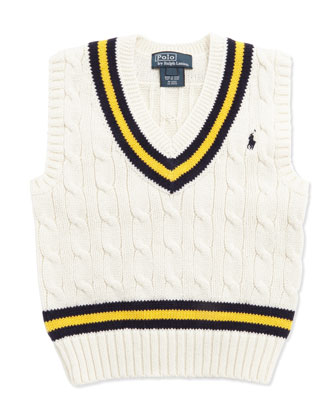 Cricket Cable-Knit Vest, Cream, Boys' 4-7