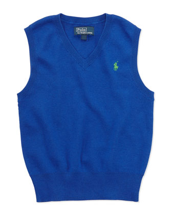 V-Neck Sweater Vest, Blue, Sizes 4-7