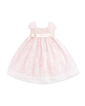 Smocked Floral-Print Organza Dress, Girls' 4-6X