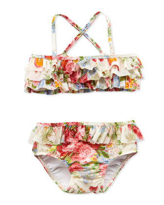 Floral-Print Two-Piece Swimsuit, White, Sizes 4-6X