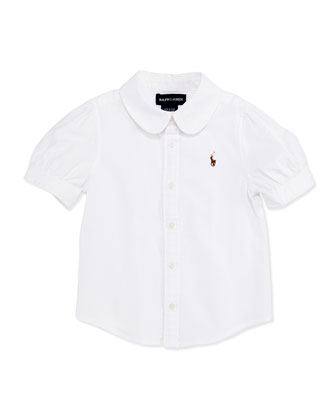 Short-Sleeve Oxford Shirt, White, Girls' 4-6X
