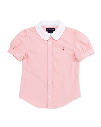 Short-Sleeve Oxford Shirt, Pink, Girls' 4-6X
