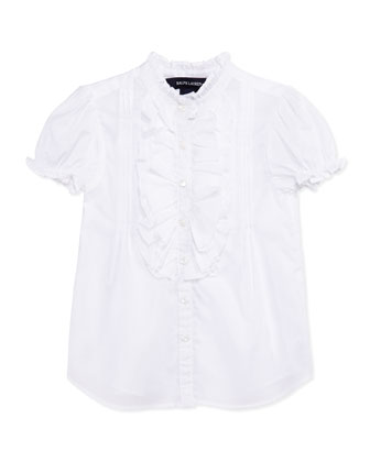 Ruffle-Trim Batiste Top, White, Girls' 4-6X