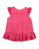 Little Spring Eyelet Top, Pink, Girls' 4-6X