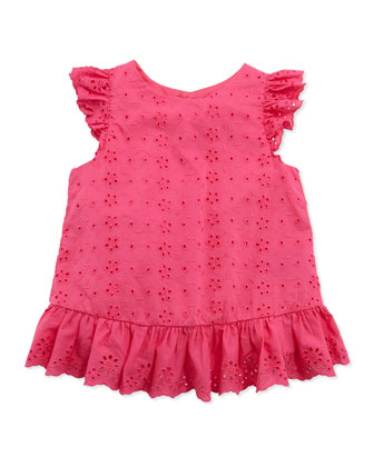 Little Spring Eyelet Top, Pink, Girls' 4-6X