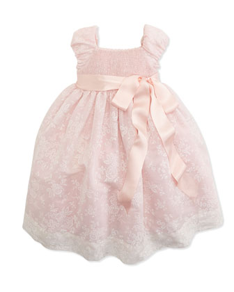 Smocked Floral-Print Organza Dress, 2T-3T