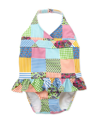 Patchwork One-Piece Swimsuit, 2T-3T
