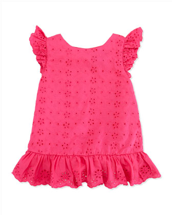 Little Spring Eyelet Top, Pink, Toddler Girls' 2T-3T