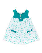Bird-Print Sleeveless Dress, White, 1m-18m