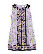 Floral-Print Sleeveless Dress, Lilac/Black, 2-6